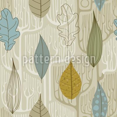 Bäume Und Blätter Nahtloses Vektormuster