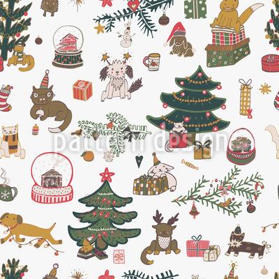 Happy Holiday Season Seamless Vector Pattern Design