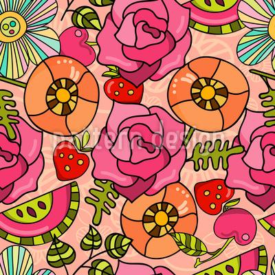 Blumen Und Früchte Nahtloses Muster