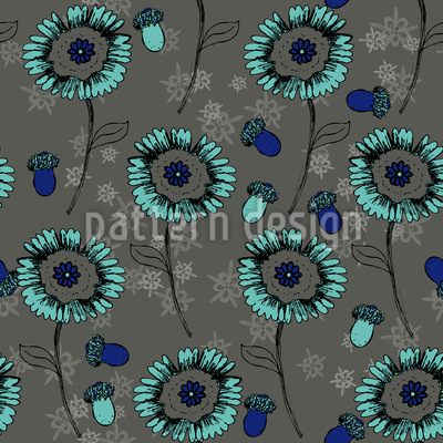 Bohemian Fantasy Flowers Seamless Vector Pattern Design