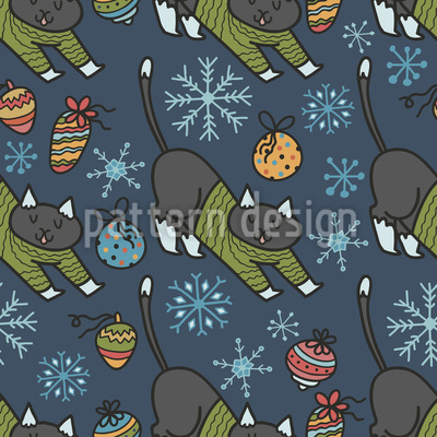 Weihnachts Katzen in Pullovern Nahtloses Vektormuster