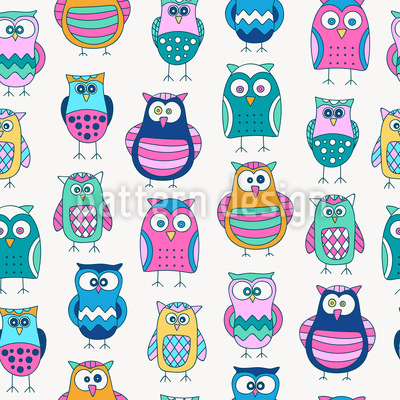 Cartoon Owls Seamless Pattern