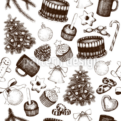 Vintage Christmas Deco Repeat Pattern