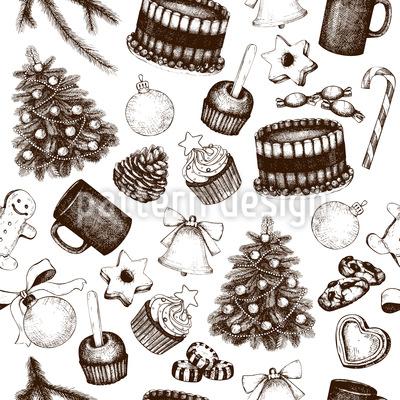 Vintage Weihnachts Deko Nahtloses Vektormuster
