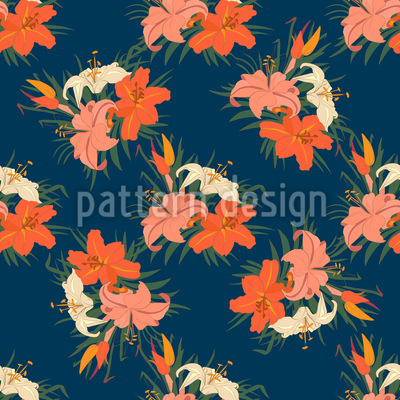 Fire Lily Seamless Vector Pattern Design