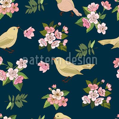 Vögel mit Blüten Rapportmuster