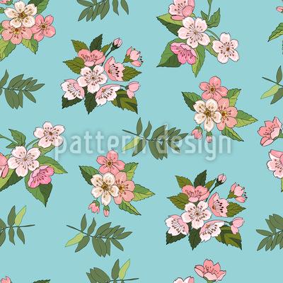 Cherry Blossoms Seamless Vector Pattern Design