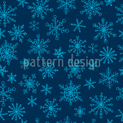 Snowflake Doodles Seamless Vector Pattern Design
