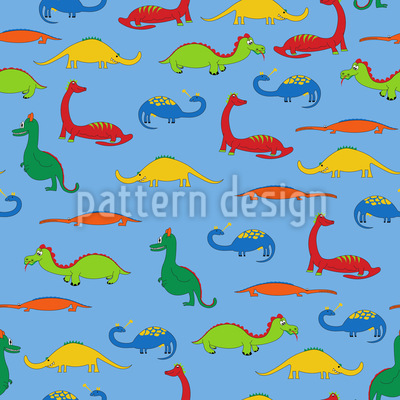 Dragons And Crocodiles Seamless Vector Pattern Design