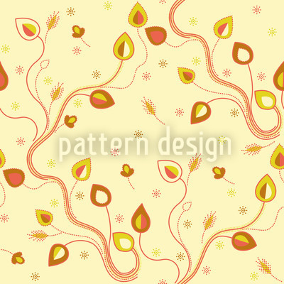 Ethno Branches Yellow Seamless Vector Pattern Design