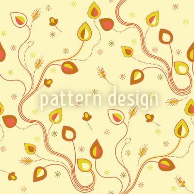 Ethno Zweige Gelb Designmuster