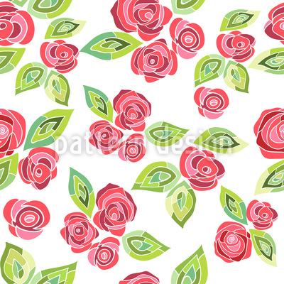Mosaic Roses Seamless Vector Pattern Design