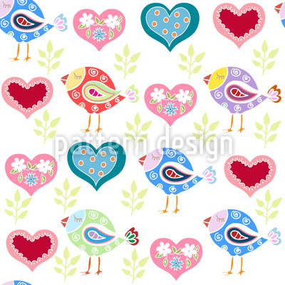 Aves encantadores Estampado Vectorial Sin Costura