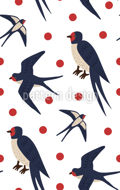 Flying Swallows Repeat Pattern