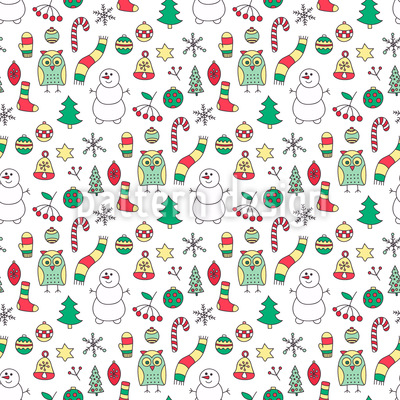 Winter Fun With Mr Snowman Seamless Vector Pattern Design