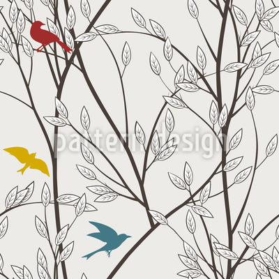 The Birds Of The Forest Vector Pattern