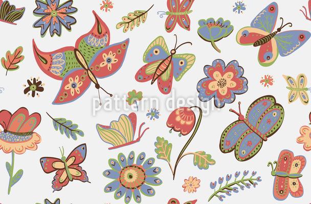 Eifrige Schmetterlinge Vektor Ornament