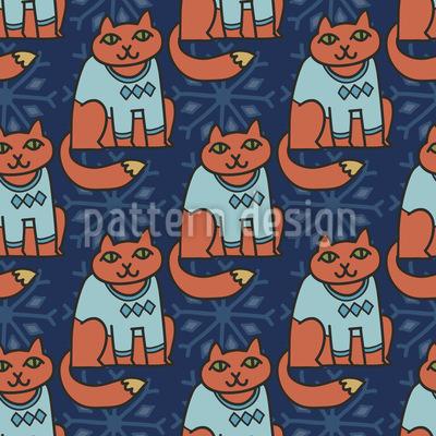 Die Winter Katzen Nahtloses Muster