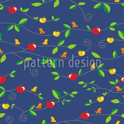 Birds Apples Leaves Repeating Pattern