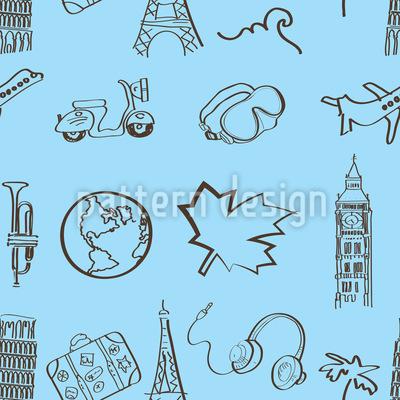 Welt Reisender Muster Design
