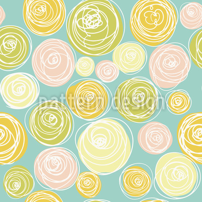Ranunkel Blüten Punkte Musterdesign