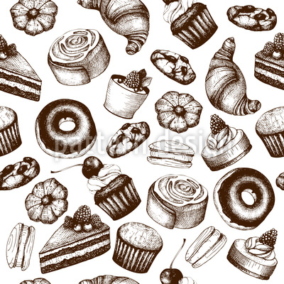 Vintage Pastry Seamless Vector Pattern