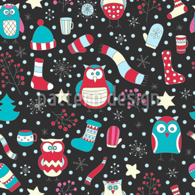 Winter Owls Seamless Vector Pattern Design