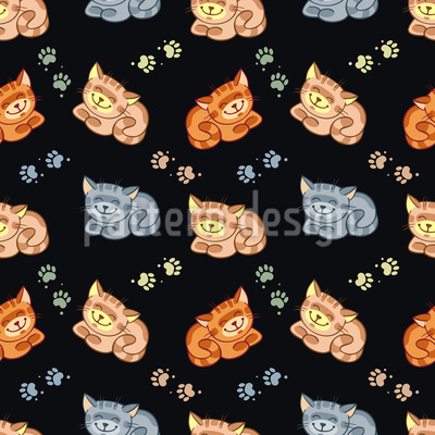 Happy Cats Seamless Pattern