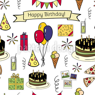 Happy Birthday Seamless Vector Pattern Design