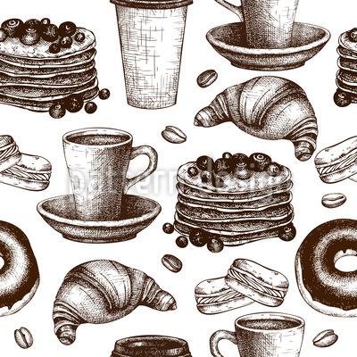 Vintage Coffee Break Seamless Vector Pattern Design