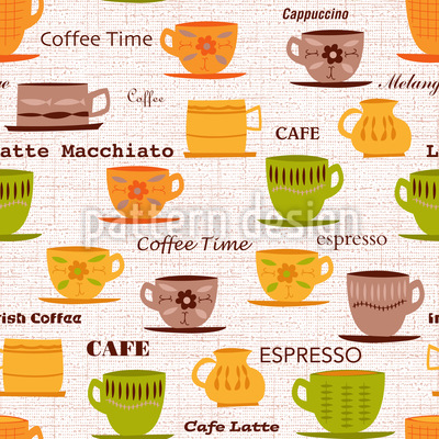 My Coffee Cups Seamless Vector Pattern Design