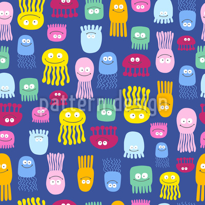 Cute Jellyfish Seamless Vector Pattern Design