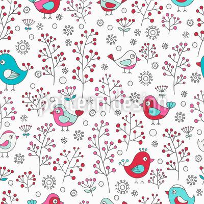 Vögel und Beeren Nahtloses Vektor Muster