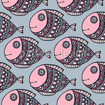 Happy Fish Journey Repeating Pattern