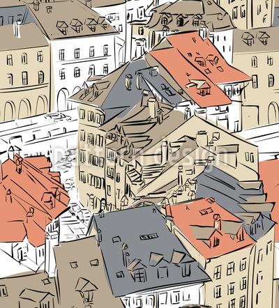 Altstadt Nahtloses Vektormuster