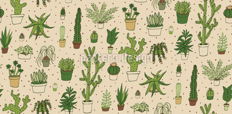 Cactus Collection Seamless Vector Pattern Design