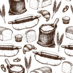Bäckerei Utensilien Nahtloses Vektormuster