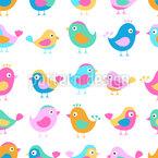 Vögel In Der Krabbelstube Nahtloses Vektormuster