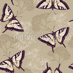Herbs And Butterflies Seamless Vector Pattern Design