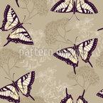 Kräuter und Schmetterlinge Nahtloses Vektormuster