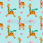 Cute Giraffe Seamless Vector Pattern Design