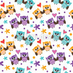 Owls In Love Seamless Vector Pattern Design
