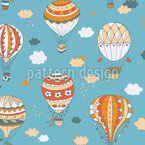Retro Balloon Ride Seamless Vector Pattern Design