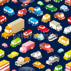 Urban Traffic Seamless Vector Pattern Design