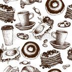 Frühstückskarte Nahtloses Vektormuster