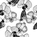 Orchid And Butterfly Seamless Vector Pattern Design
