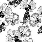 Orchidee und Schmetterling Nahtloses Vektormuster