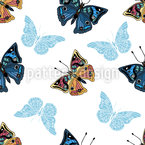 Butterflies In My Garden Seamless Vector Pattern Design