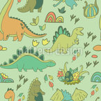 Dino World Seamless Vector Pattern Design