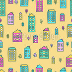 Doodle Houses Seamless Vector Pattern Design